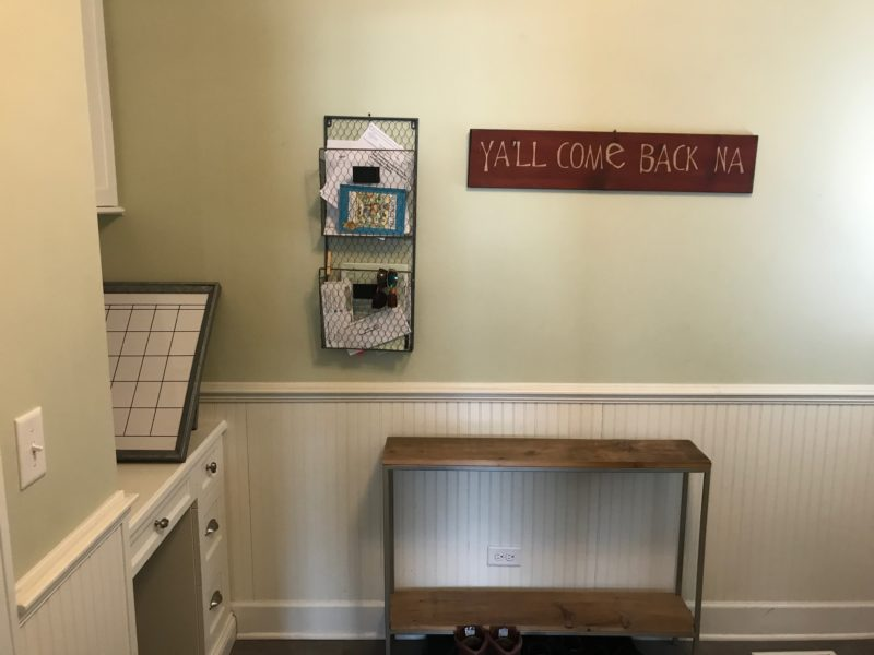 The before: Quick tips to install a mudroom command center with everything you need from Potterybarn. #designtips #mudroom #commandcenter for more visit www.homewithkeki.com