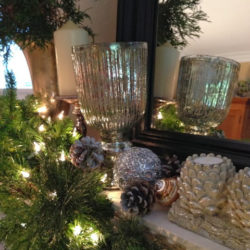 holiday mantels in silver