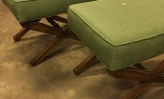 Re-Upholstered Vintage X-benches
