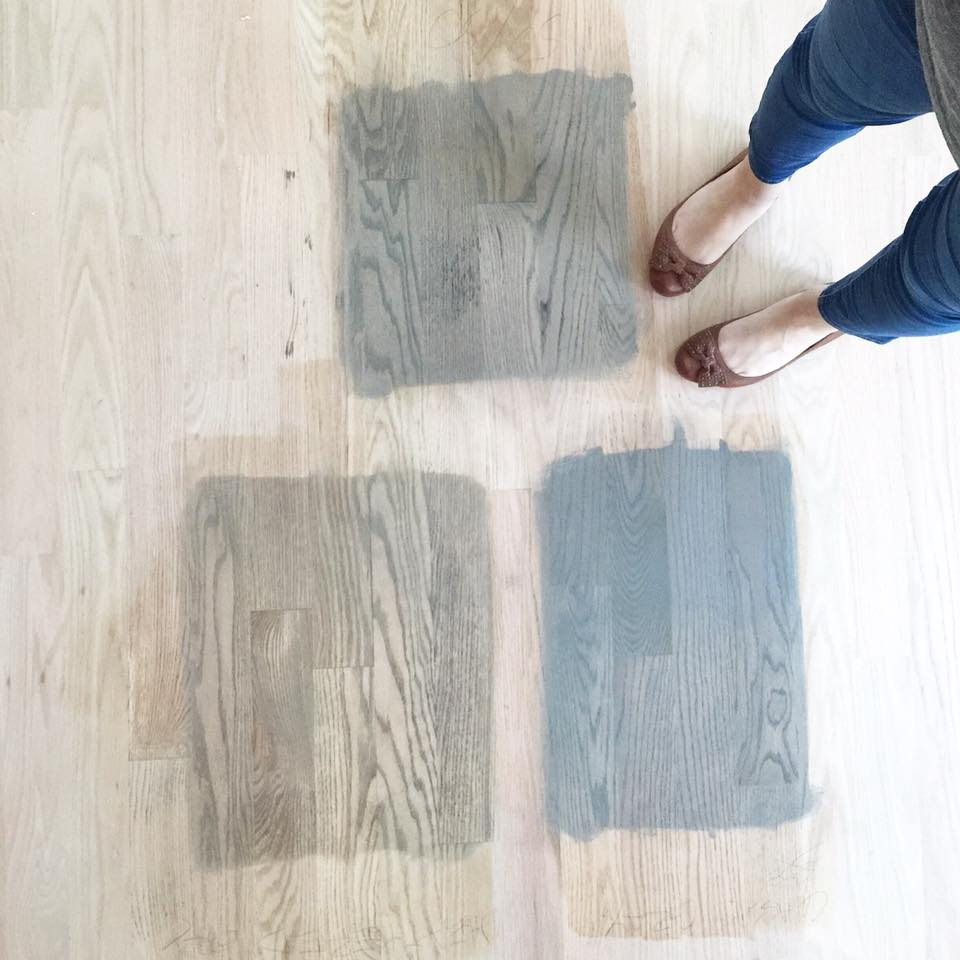 so not sure if you remember but a few weeks ago we were in the midst of deciding what shade of grey to stain my clients hardwood floors