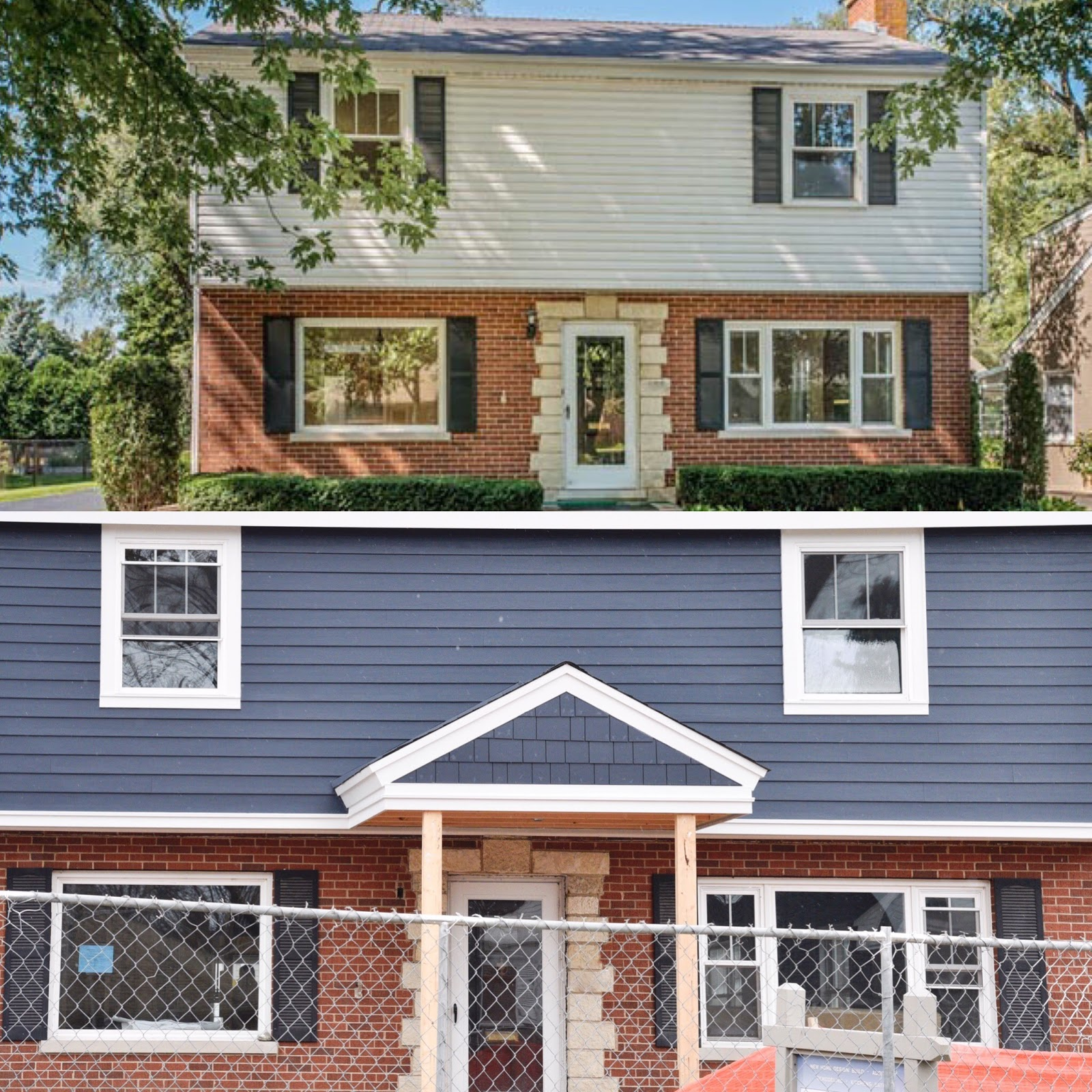 New Brick Homes: Picking Blue Exterior Siding With Red Brick