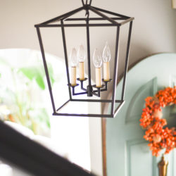 Home Blogger Home Tour entryway styling with lantern light fixture www.homewithkeki.com