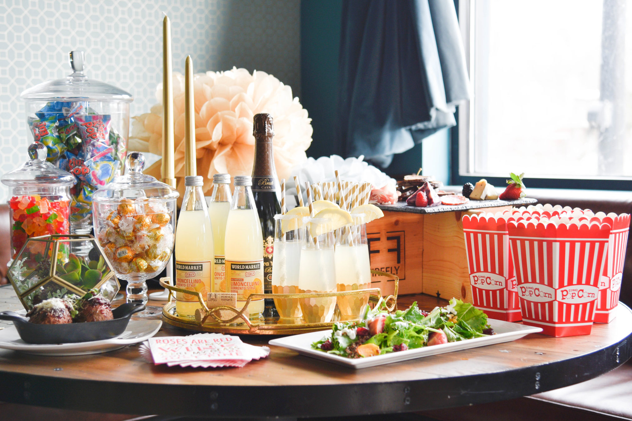 Oscar season is here and hosting a party can be easy, it's all about displaying those drinks and treats, some candy and champagne does the trick. find out more at www.homewithkeki.com
