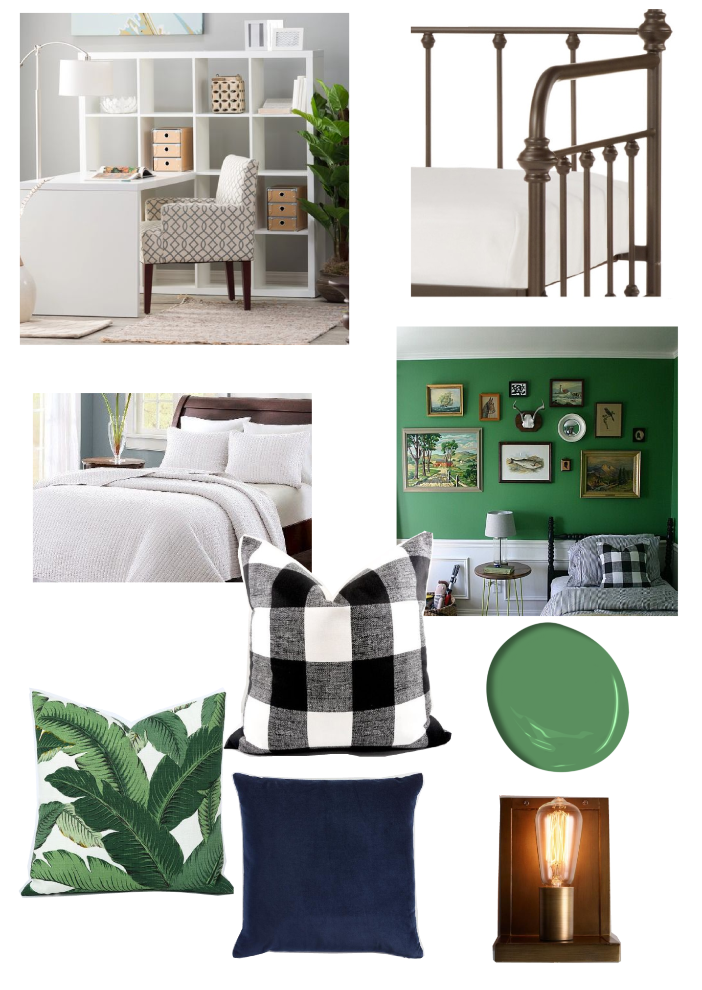 One Room Challenge Home Office and Guest Room makeover, this Modern vintage inspired space with a pop of bunker hill green. More at www.homewithkeki.com #oneroomchallenge #homeoffice #interiors #guestroom #moodboards